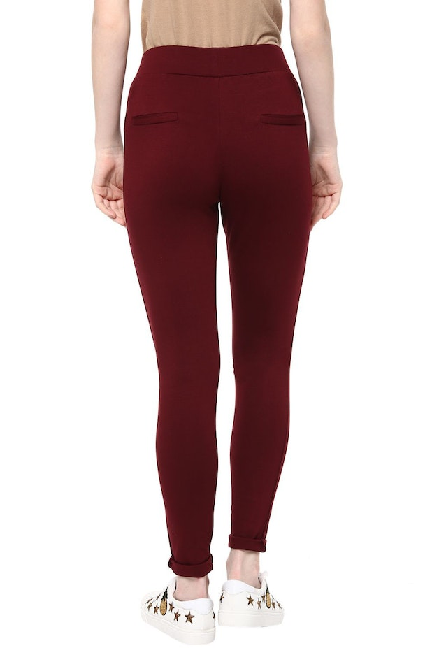 Annabelle Jeans Jeggings Pantaloons Maroon Treggings For Women At Pantaloons Com