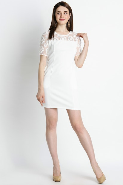 Short Sleeves Pearl Lace Dress