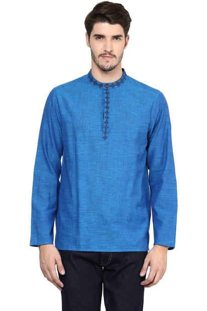 94a3583a5b4474 Indus Route by Pantaloons Ethnic, Pantaloons Blue Kurta for Men at ...