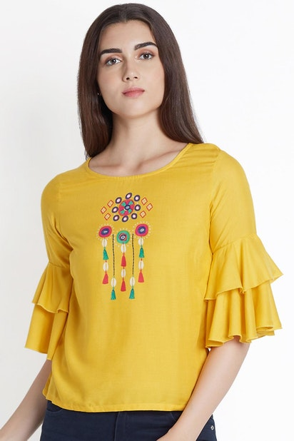 e59ad28a990be Chest Printed Ruffle Sleeve Top