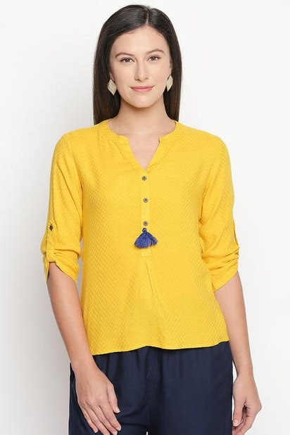 f5c9569fd413d Akkriti Tees & Tops, Pantaloons Yellow Top for Women at Pantaloons ...