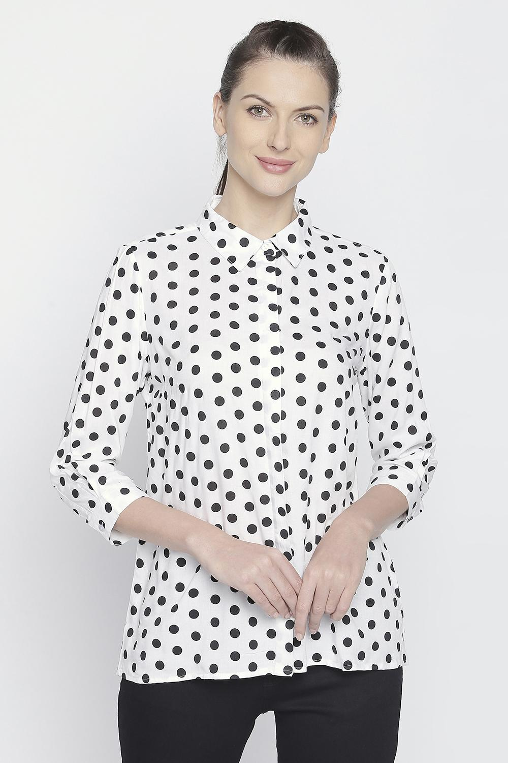 0d8c0f3c6 Printed Collared Rayon Top