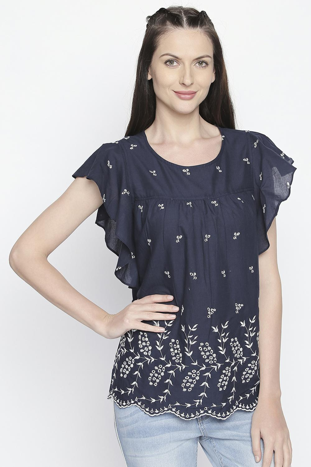 36a40de8 Bare Denim Tees & Tops, Butterfly Sleeved Printed Top for Women at  Pantaloons.com