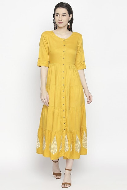 3d6504ecee853 Akkriti Dresses, Solid Flared Tiered Dress for Women at Pantaloons.com