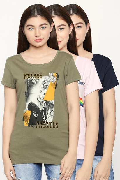 32aa2dd90b96 Honey Tees & Tops, Printed Multicolored Pack of 3 T Shirts for Women ...