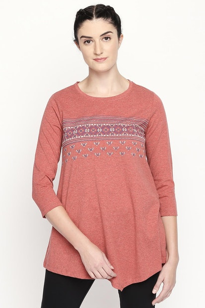 4055c8fc76bc Ajile Tees & Tops, Printed Round Neck Cotton Top for Women at ...