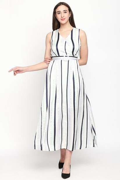 7b85165589f Striped V Neck Maxi Dress