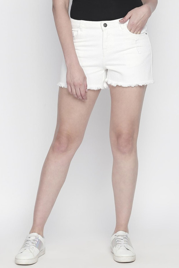 Bare Denim Shorts Capris Solid Casual Comfort Fit Shorts For Women At Pantaloons Com Woman in shorts with headphones. bare denim shorts capris solid