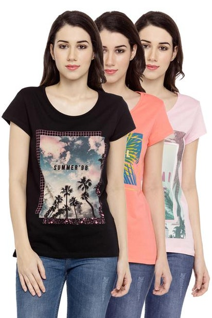 91a95144 Ajile Tees & Tops, Printed Pack of 3 T Shirts for Women at ...