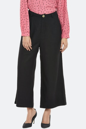 Black Solid Culottes