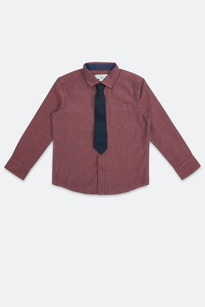 Maroon Textured Shirt